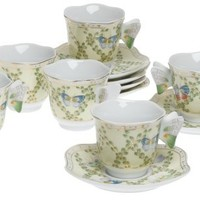 Yedi Houseware Classic Coffee and Tea Butterfly Espresso Cups and Saucers, Green, Set of 6