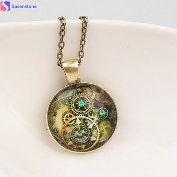 DCCKJY1 women necklace Life Tree Pendant Necklace Art Tree Glass Cabochon Bronze Retro mechanical gear time foreign jewelry necklace