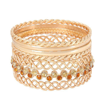 Gold Multilayer Bracelet with  Diamante Embellishment