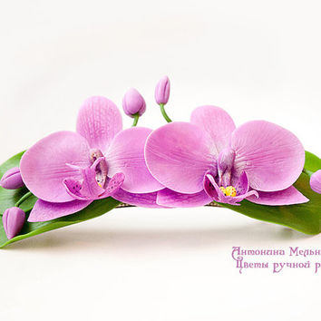 "Barrette ""Orchids"" - Polymer Clay Flowers"