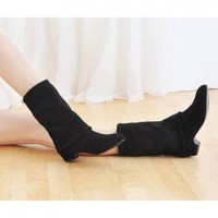 Slim Elastic Dull Polish Low Heel Boots For Women China Wholesale - Sammydress.com