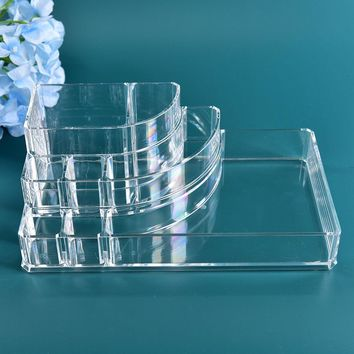 1Pc Organizer For Cosmetic Storage Box Case Delicate Clear Fashion Makeup Organizer Storage Box Jewelry Container