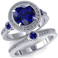 Brachium Round Blue Sapphire Bezel Milgrain Halo 3/4 Eternity Accent Diamond Ring