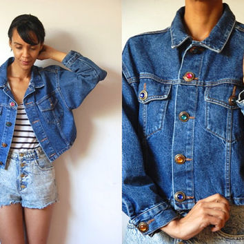 Vtg Jeweled Buttons Crop Denim Jacket