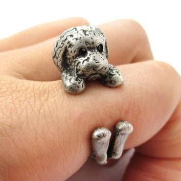 Realistic Toy Poodle Puppy Dog Shaped Animal Wrap Around Ring in Silver | US Sizes 4 to 8.5