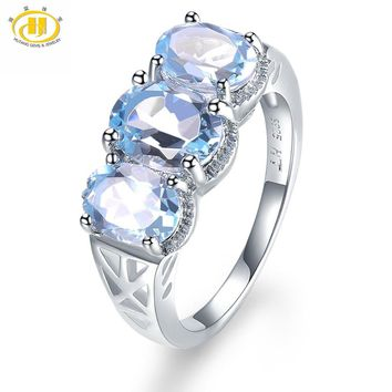 Hutang 3.52ct Natural Gemstone Sky Blue Topaz Solid 925 Sterling Silver Engagement Ring Fine Jewelry presents Gift NEW Arrival