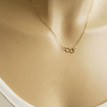 Gold Fill Infinity Necklace, Tiny Infinity Charm with 14k Gold-filled, Sterling Silver Delicate Chain, Infinite Love Bridesmaids Sister Gift