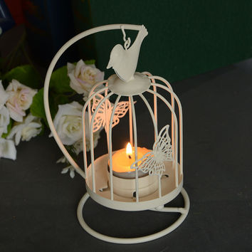 Home Decor Pastoral Style Iron Cage Butterfly Accessory Candle Stand [6282857094]