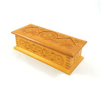 Vintage Hand Carved Wood Box from Russia