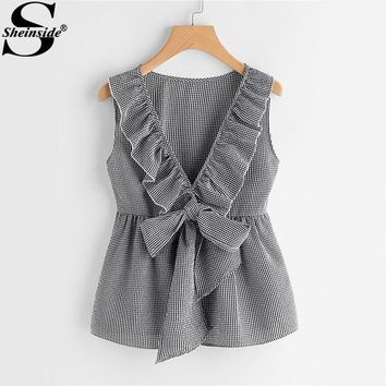 Sheinside Plaid Cute Bow Front Blouse Deep V Neck Shell Tops Women Ruffle Sleeveless Summer Tops Ladies Peplum Tunic Blouse