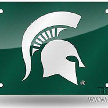 Michigan State Spartans GREEN SD02203 Deluxe Laser Tag License Plate University