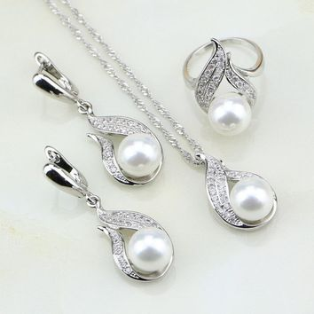 Fire 925 Silver Jewelry White Imitation Pearl Cubic Zirconia Jewelry Set Gift For Women Earrings/Ring/Pendant/Necklace Chain
