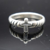 Small Cross Ring Sterling Silver Size 6 Vintage 925