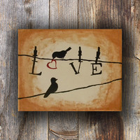 Love Bird Painting, Modern Painting, Silhouette Art, Unique Wedding Gift, Love Art, Original Painting, Canvas Art