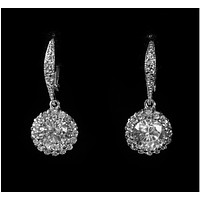 Chasity Round Halo Drop Dangle Earrings | 2.8ct | Cubic Zirconia | Silver