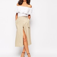 Warehouse Tencel Wrap Skirt