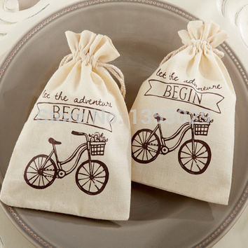 """FREE SHIPPING! 100pcs/Lot  """"Let the Adventure Begin"""" Vintage Black Bicycle Muslin Bags Bridal Shower Wedding Favor Cotton Bags"""