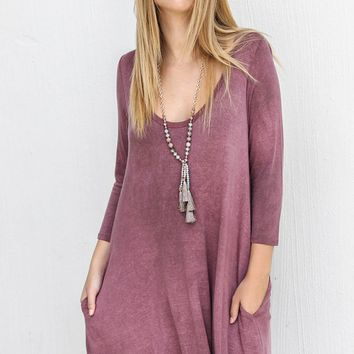So Much To See Wine Casual Swing Dress