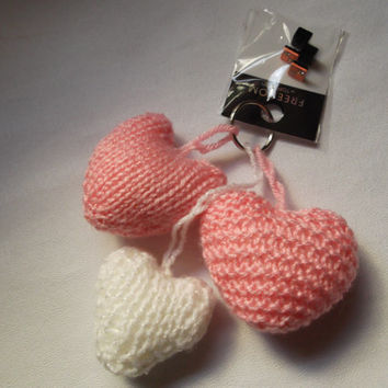 3 hearts - pink and white - key ring/bag charm - with Freedom at Top Shop pink dice stud earrings -  plus lacy gift bag
