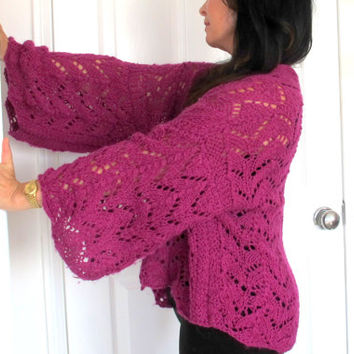 Luxury angora shrug, fine hand knit cardigan sweater, large knit outerwear