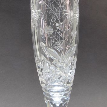 Butterfly American Brilliant Period Cut Glass footed vase Antique