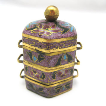 Cloisonne Enamel Stack Boxes - Miniature Bento - Chinese