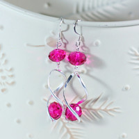 Hot Pink Crystal Bead Trendy Spiral Earrings perfect for women, teens with a keen fashion style