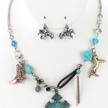 Aged Finish  Southwestern Style Charm Cross  Natural Stone Iridescent Glass Bead Necklace Earring Set