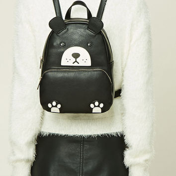 Bear Faux Leather Mini Backpack