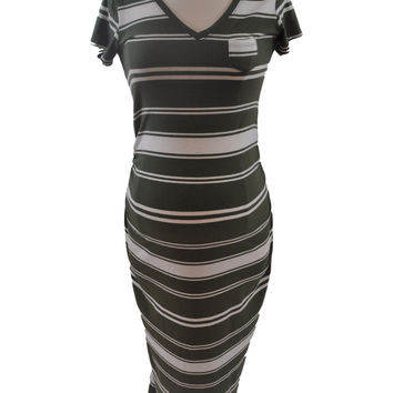 Green & White Stripe Short Sleeve Dress by Old Navy