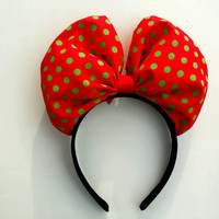 Minnie Mouse Bow headband in Christmas polka dot pattern