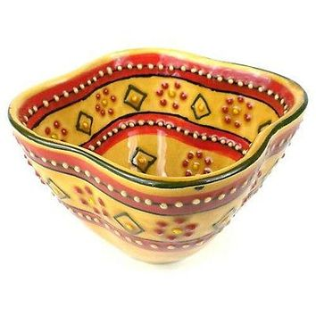 Hand-painted Mexican Pottery Dip Bowl in Red - Encantada