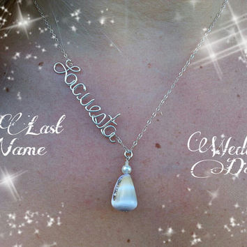 "Bride, ""His Last Name"" Side Wire Writing Shell Necklace, Sterling Silver Name Necklace, Wedding"