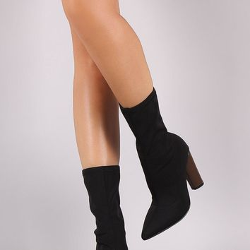 Fitted Elastane Pointy Toe Thick Heeled Boots