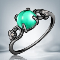 2016 Hot Selling Black Gold Green Opal Round Zircon Stone Fashion Finger Rings Jewelry Wedding Engagement Women Delicate Gift