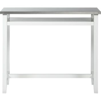 Belmont White Work Table with Stainless Steel Top in Best&Buys Furniture | Crate and Barrel