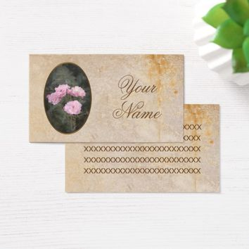 Vintage design. Photo of pink roses. Add your text Business Card