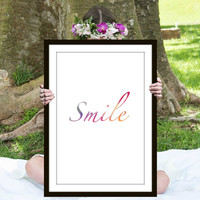 Watercolor Smile Print, Inspirational Quote, Motivational Poster, Gift Ideas, Shabby Chic, Wall Art, Home Decor, Typography Print - PT0121