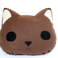 Brown Cat Plush Pillow, Plush Stuffed Animal Pillow, Home Decor, Whimsical Creations, Kawaii Cushion Dorm Decor Nursery Decor