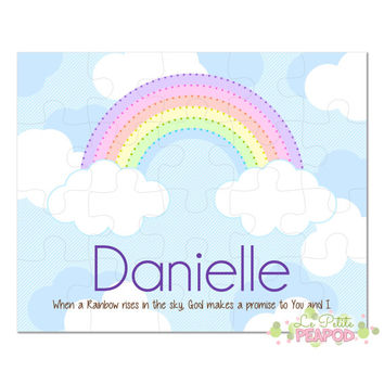 "Personalized 8"" x 10"" Puzzle - 20 or 100 pieces - God's Promise Rainbow Puzzle - Christian Gift - Bible Gift - Personalized Name Puzzle"