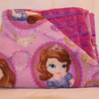 "Sofia the First Fleece/Minky ""Snuggie"" - Baby Security Blanket"