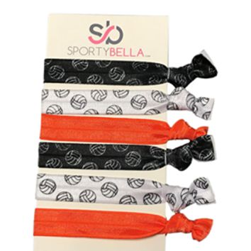 Girls Volleyball Hair Ties, Orange
