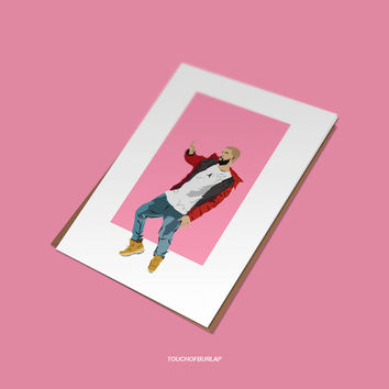 Drake Hotline Bling Dancing llustration Best Friend Birthday Holiday Card Shipping Free