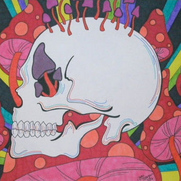 Psychedelic Skull Art with Colorful Mushrooms Marker and Sharpie 9x12 Drawing, Original Skull Art, Hippy Trippy Artwork, Gift I