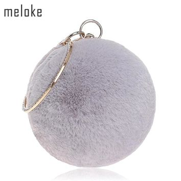 Meloke 2017 women fur round shaped evening bags luxury diamond wedding dinner bags with chain party bags drop shipping MN875