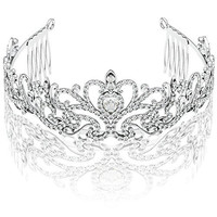 Silver Princess Tiara with Comb & Ribbon Loop - For First Communion, Wedding, Pageant, Sweet 16 & Baby Shower