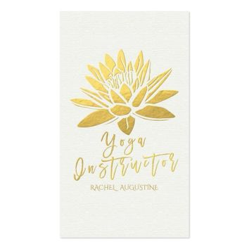 Elegant White and Gold Foil Lotus Yoga Instructor Business Card