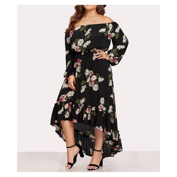 Black Floral Off the Shoulder Flounce High Low Maxi Dress
