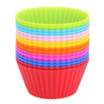 16pcs Round Cupcake Liners Silicone Muffin Cases Cake Baking Mold Bakeware Maker Mold Tray Baking Kitchen Gadgets