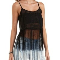 Ombre Fringe Embroidered Chiffon Crop Top